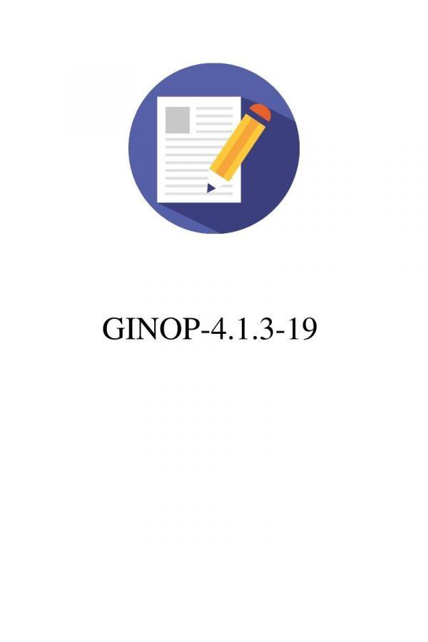 GINOP-4.1.3-19 pályázatok